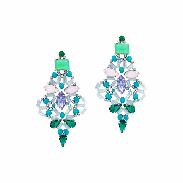Amethyst, Emerald Green, Baby Pink and Aqua Rock Crystals Earrings