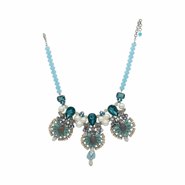 Pear & Emerald Cut Aquamarine Crystals And Turquoise Mid Length Statement Necklace