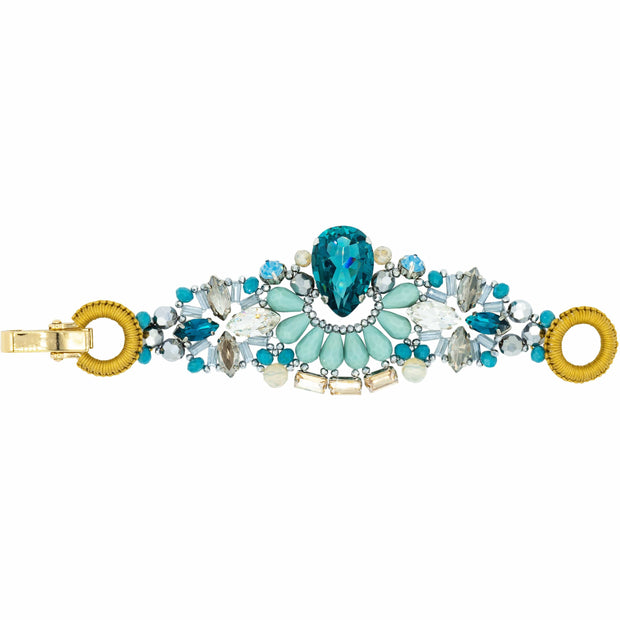 Handmade Bracelet With  Aquamarine Turquoise and Swarovski Crystals -GLAM CONFIDENTIAL
