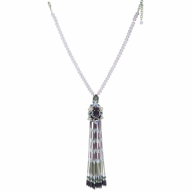 Amethyst & Diamante Crystals Stunning Sautoir Necklace
