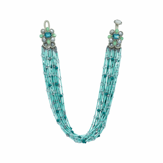 Turquoise Beads & Faceted Turquoise Pearls Multi Strand Necklace - GLAM CONFIDENTIAL
