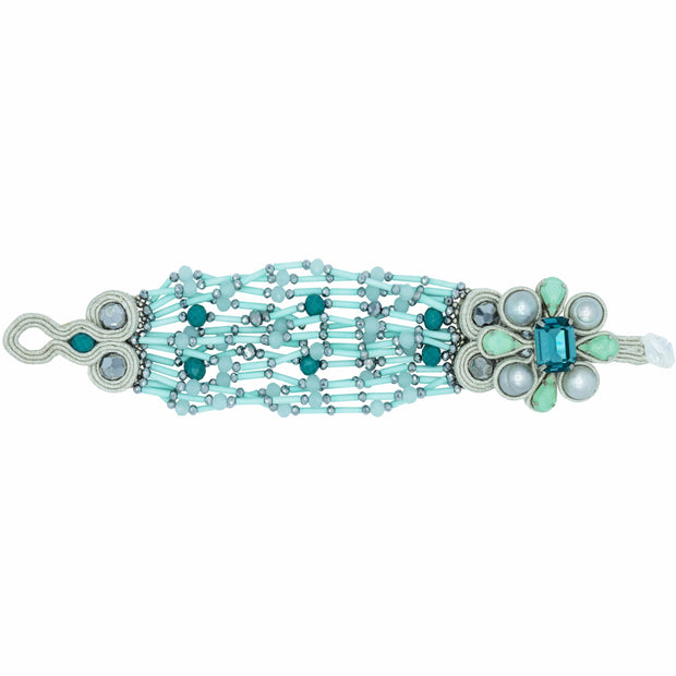 Multi Strands Turquoise and Swarovski Satement Bracelet