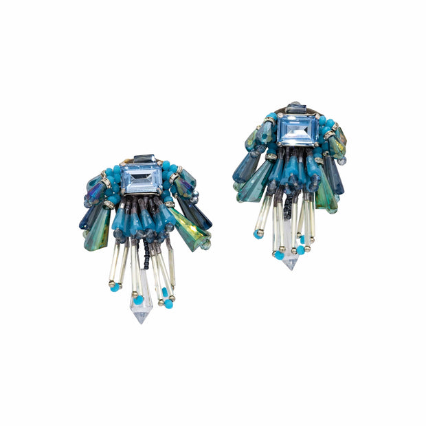 Deep Blue And Denim Blue Clip On Earrings