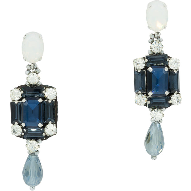 Deep Blue Sapphire And Diamante Earrings-Glam Confidential