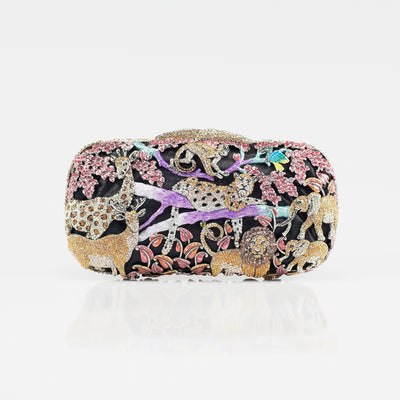 Clutch Bag Depicting African Savannah Animals In Bright Crystals- GLAM CONFIDENTIAL