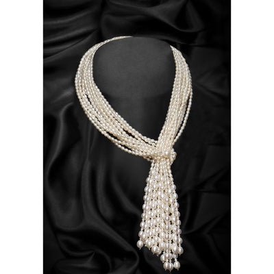 White Multi-Strand Scarf Shape Freshwater Pearl Necklace-GCFP1007W - GLAM CONFIDENTIAL