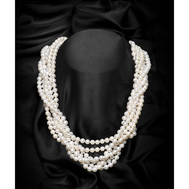 White Single Strand Round Freshwater Pearl Necklace-GCFP1006 - GLAM CONFIDENTIAL