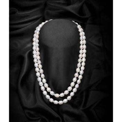 White Single Strand Freshwater Pearl Necklace-GCFP1008 - GLAM CONFIDENTIAL