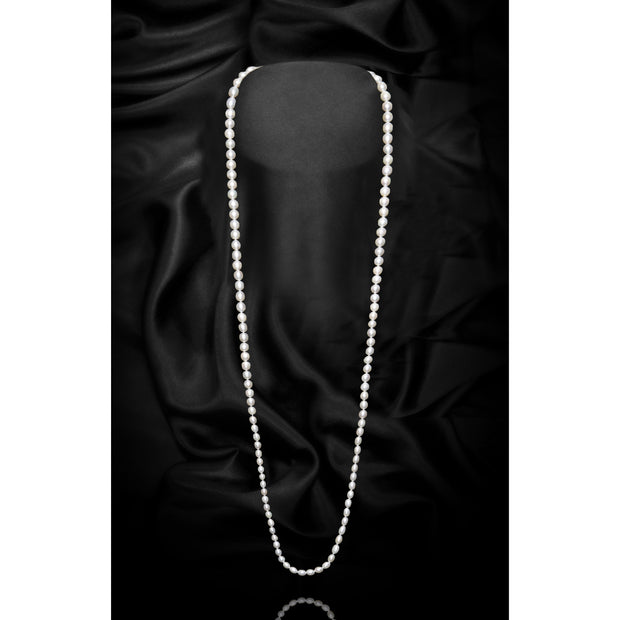 White Single Strand Freshwater Pearl Necklace-GCFP1005W - GLAM CONFIDENTIAL