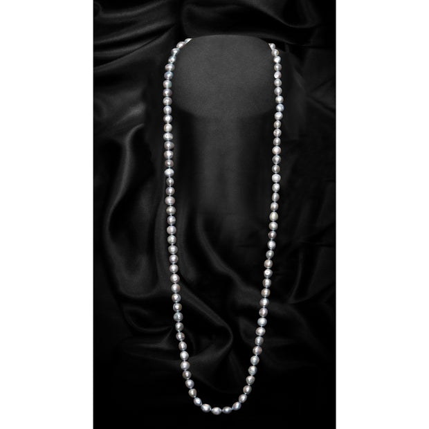 Grey Single Strand Extra Large Baroque Freshwater Pearl Necklace-GCFP1013G