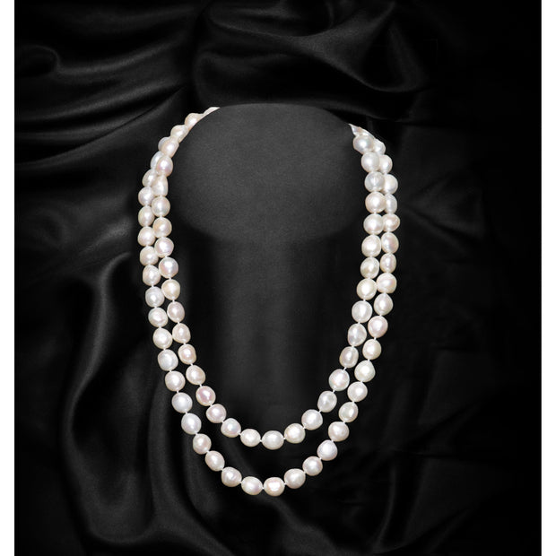 White Extra Large Baroque Freshwater Pearl Single Strand Necklace