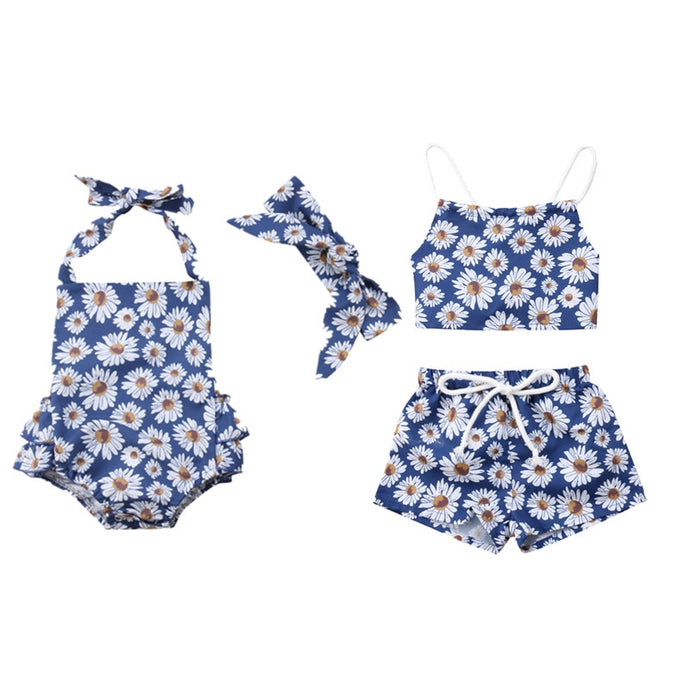 Blue Daisy Romper or Shorts Set