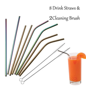 8Pcs Stainless Steel Bend Straws For Yeti RticTumbler Rambler+2Cleaner Brush+Bag