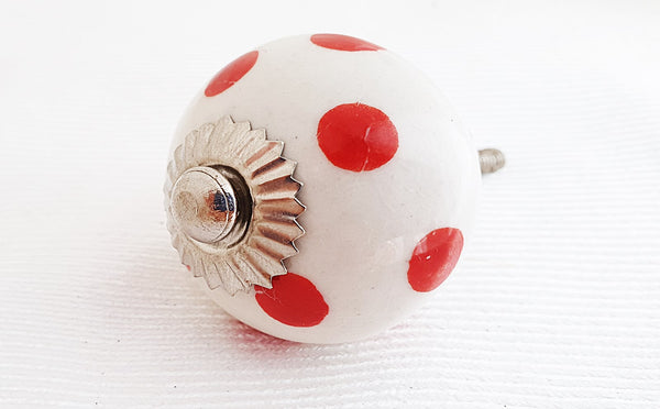 Ceramic funky red dots shabby chic 4cm round door knob