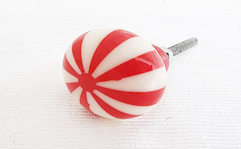 Resin red cream candy funky design round 3.5cm door knob