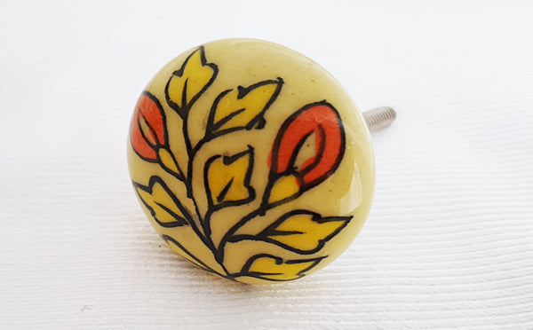 Ceramic orange yellow leafy design round 4cm door knob