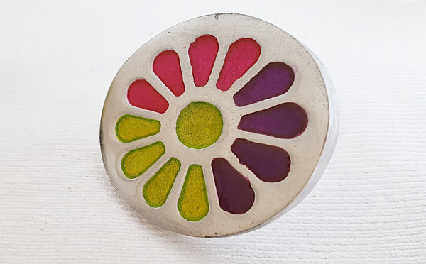 Aluminium colorful funky flower 4.5cm round door knob