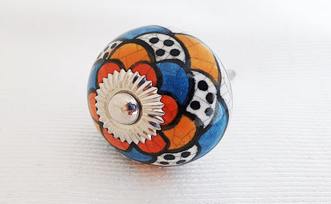 Ceramic colorful funky unique design 4cm round door knob