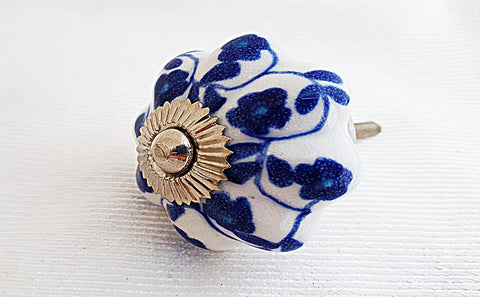 Ceramic blue white floral unique design 4.5cm pumpkin door knob