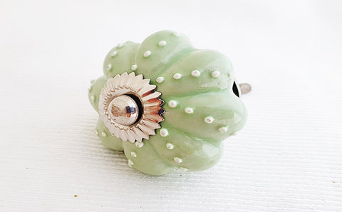 Ceramic apple green embossed unique 4.5cm pumpkin door knob