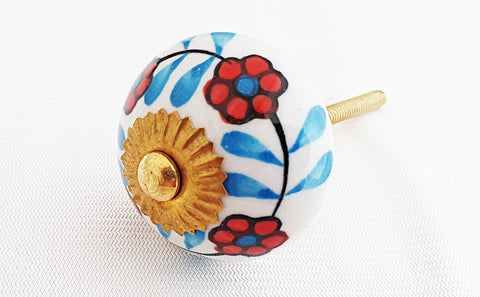 Ceramic aqua red white floral design 4cm round door knob
