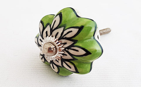 Ceramic stunning apple green flower pumpkin 4cm door knob