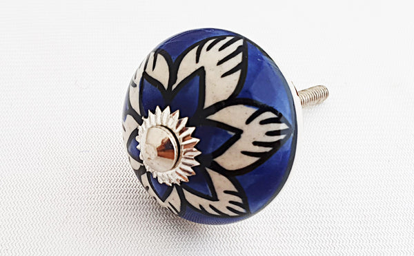 Ceramic royal blue flower 4cm round door knob