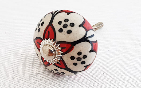 Ceramic vibrant red white Moroccan style 4cm round door knob
