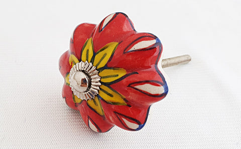 Ceramic vibrant red yellow flower funky pumpkin 4.5cm doorknob