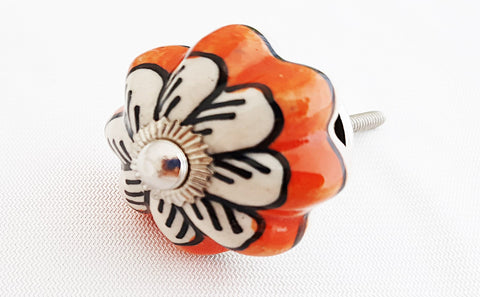 Ceramic vibrant orange white flower 3.5cm round door knob