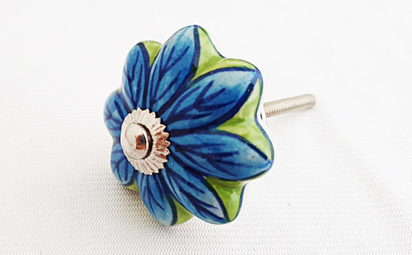 Ceramic turquoise green  flower pumpkin 4.5cm door knob