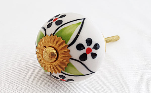 Ceramic green blue white floral 4cm round door knob