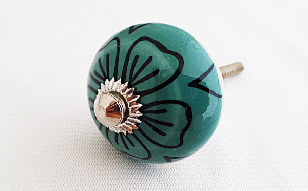 Ceramic teal green delicate black flower 4cm round door knob