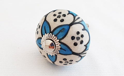 Ceramic aqua blue white greek design round 4cm door knob