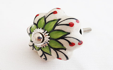 Ceramic beautiful green flower pumpkin 4cm door knob