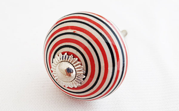 Ceramic black red white spiral 4cm round door knob