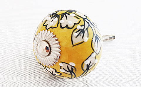 Ceramic lemon yellow white embossed 4cm round door knob