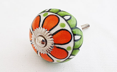 Ceramic red green white flower round 4cm door knob