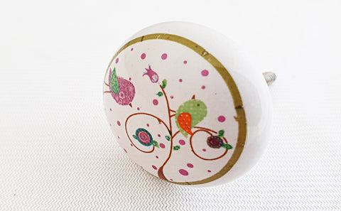 Ceramic kids colorful birds shabby chic printed round 4cm door knob