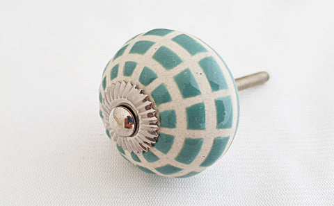 Ceramic aqua ocean blue unique embossed 4cm round door knob