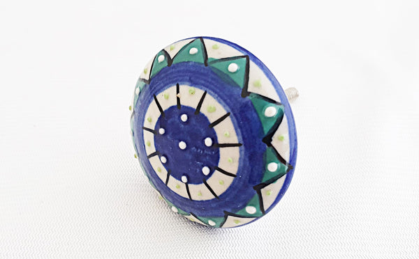 Ceramic beautiful aqua blue unique embossed 4.5cm round door knob