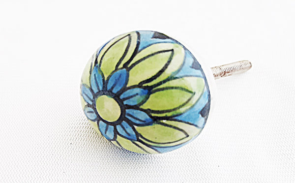 Ceramic Small aqua green blue flower round 3.5cm door knob