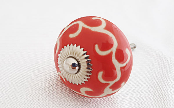 Ceramic retro vintage style red embossed 4cm round door knob