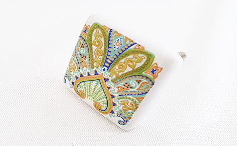 Ceramic green orange 4cm peacock style print square 4cm door konb