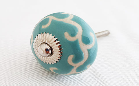 Ceramic ocean blue unique retro embossed 4CM round door knob