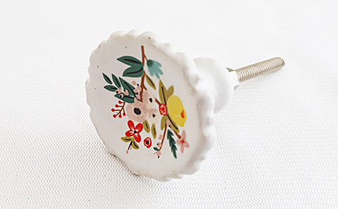 Ceramic unique retro vintage style floral design 4cm door knob
