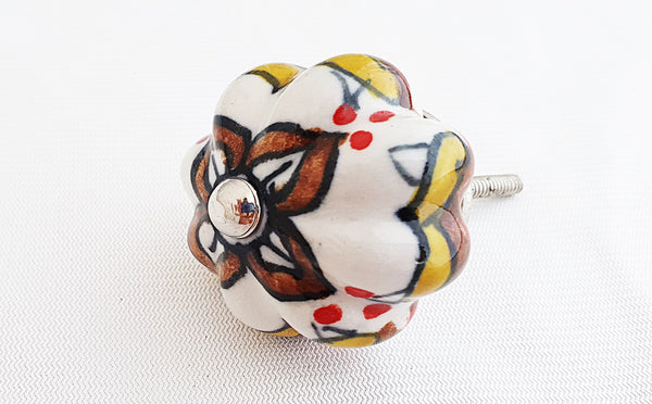 Ceramic yellow brown moroccan style pumpkin 4.5cm door knob