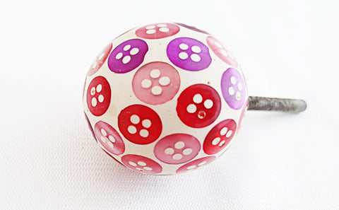 Acrylic unique colorful pink purple mini button design 4cm round ball door knob