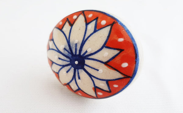 Ceramic big red blue embossed floral 5cm round door knob