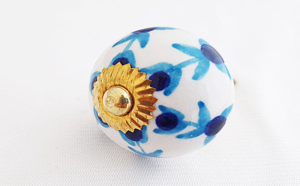 Ceramic blue white aqua floral 4cm round door knob